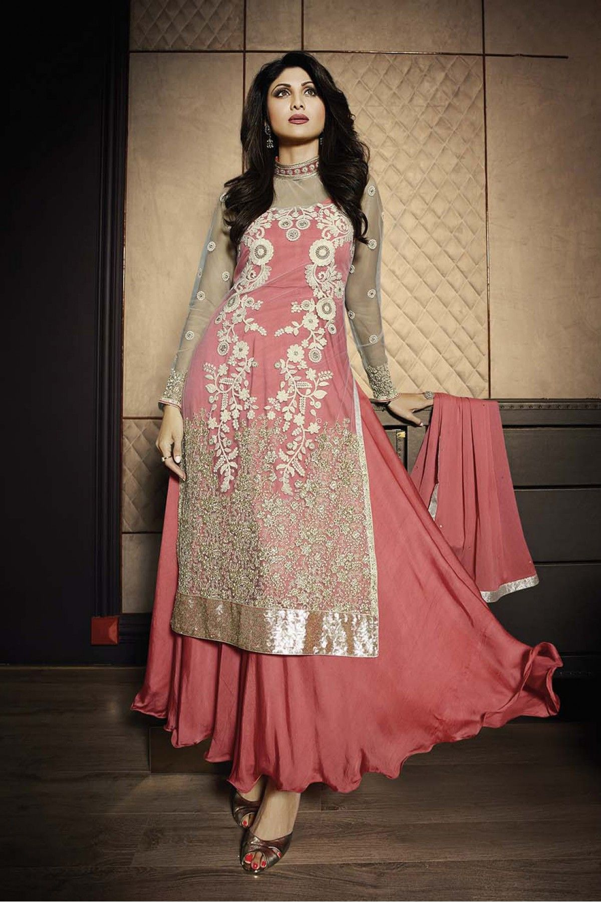 Bollywood Shilpa Shetty Net and Georgette Semi Stitched Anarkali ...