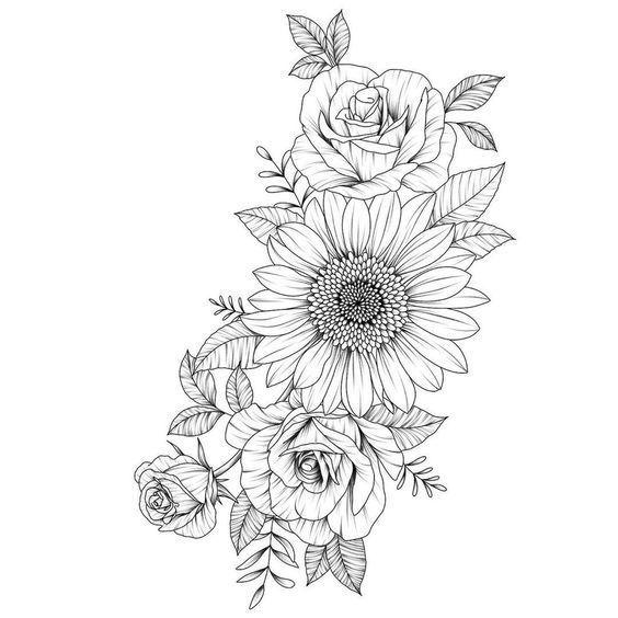 39 Beeindruckende Schwarzweiß-Sonnenblumen-Tattoo-Ideen  Tattoos #flowertattoos…