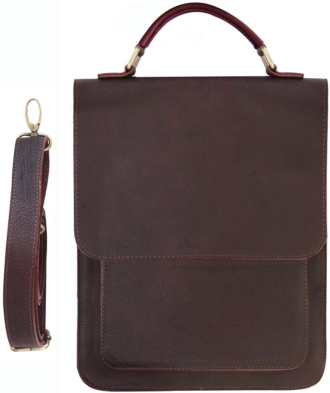 Leather Messenger Bag Vertical Laptop Briefcase Shoulder Slingbag Review More Details Here Travel Accessories
