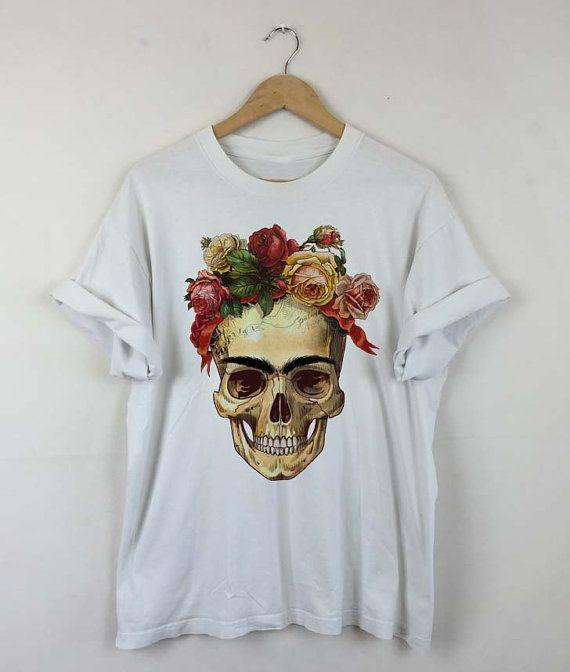 f07a03070 Frida Kahlo Skull Roses T-shirt Frida Kahlo Quotes by RizalDesign ...