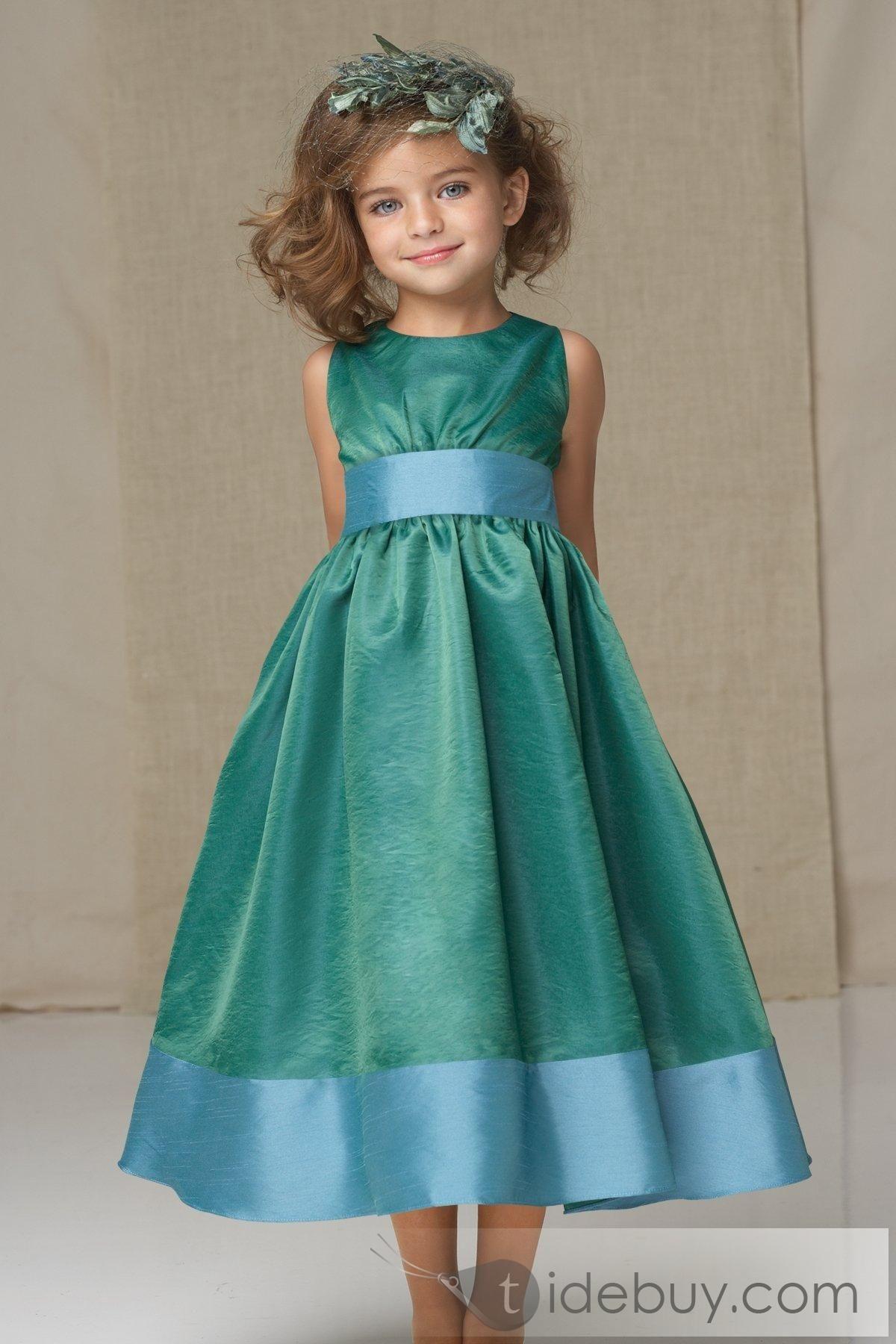 Cute A-line Scoop Tea-length Sash Flower Girl Dress   Tea length ...