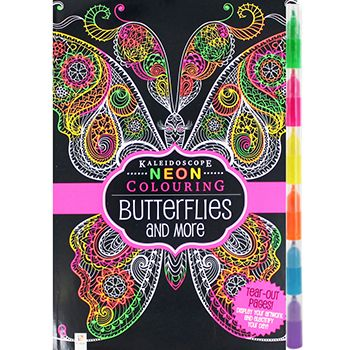 Butterflies Neon Adult Colouring Book With Highlighter ...