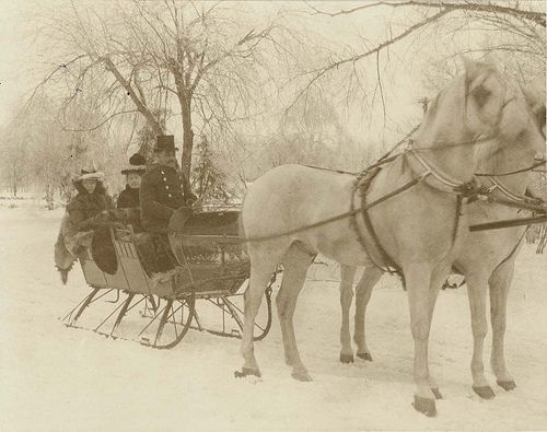 Sleigh riding in Tower Grove Park, 1900