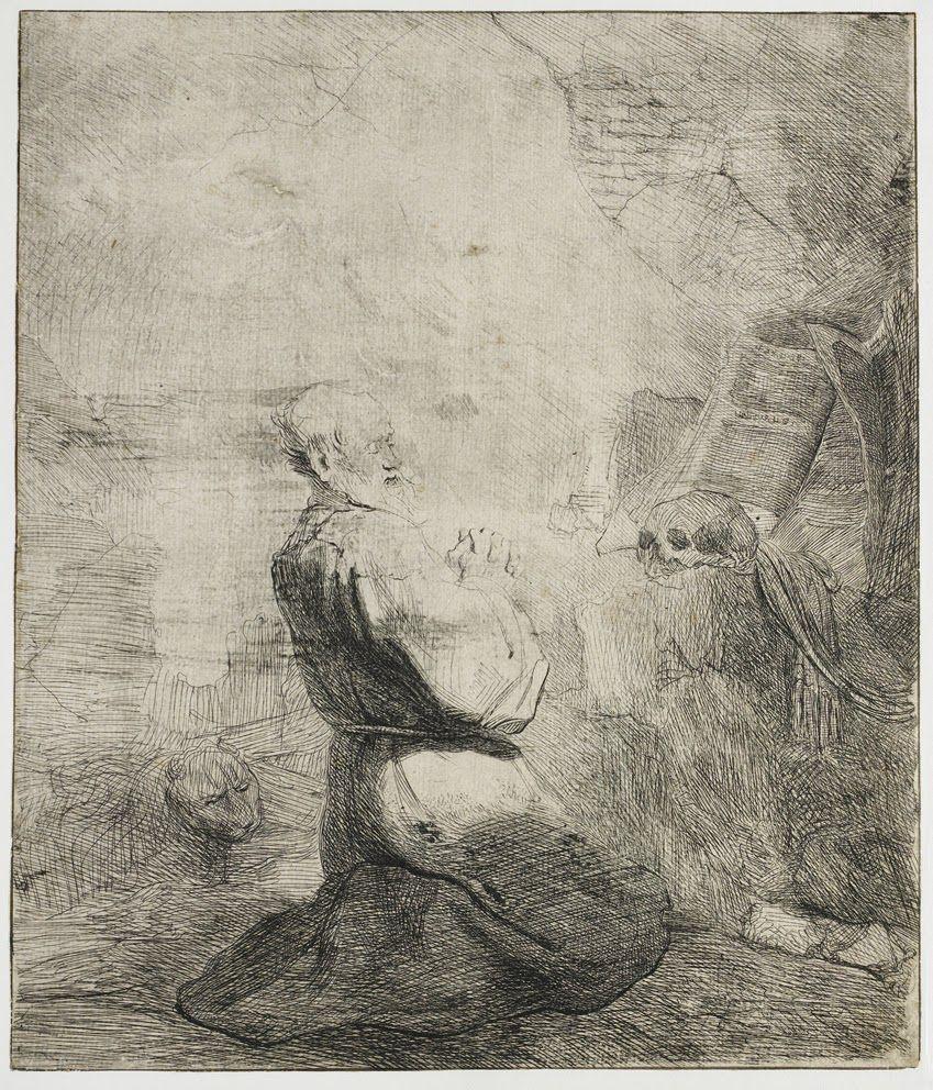 Kneeling Hieronymus etching. rembrandt