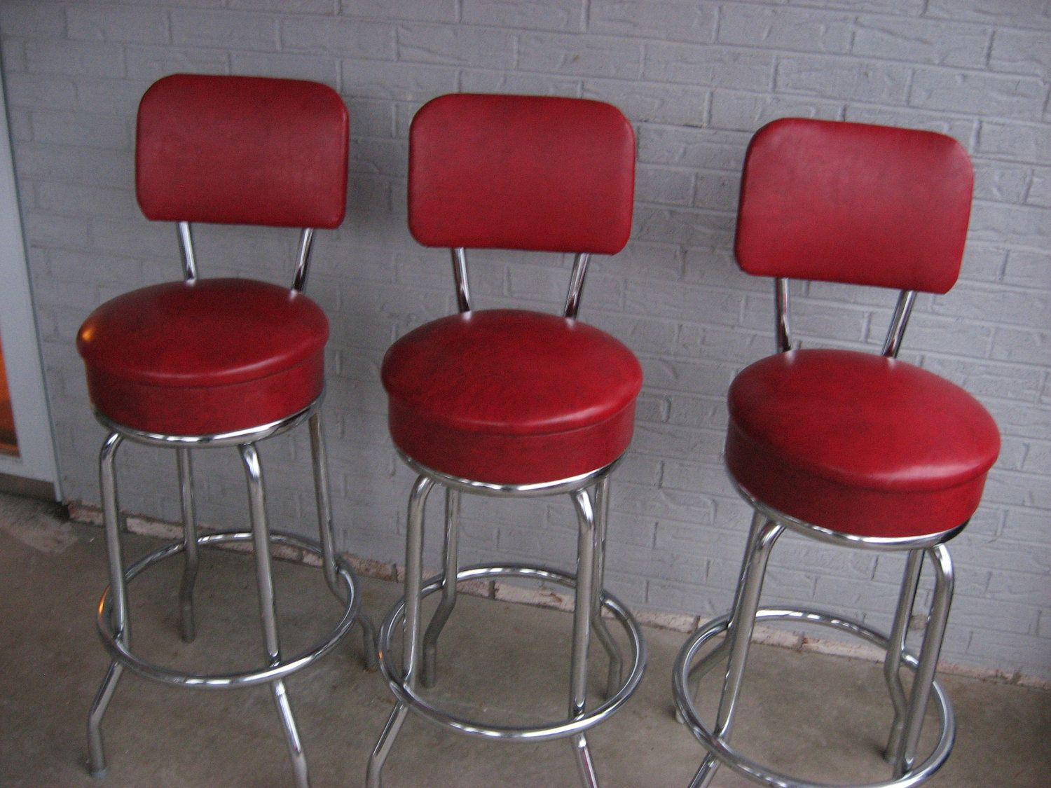 Three 3 Vintage Retro 1950s 1960s Red Bar Stools By Treasurehut