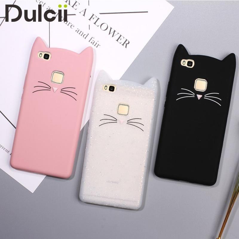 Dulcii Phone Case For Huawei P10 Lite P9 P8 Lite 2017 Cover Cat Funda Coque Silicone Cute Smartphone 3d Cat Smartphone Bag Fundas Huawei P9 Lite Fundas Para Celular Huawei Fundas