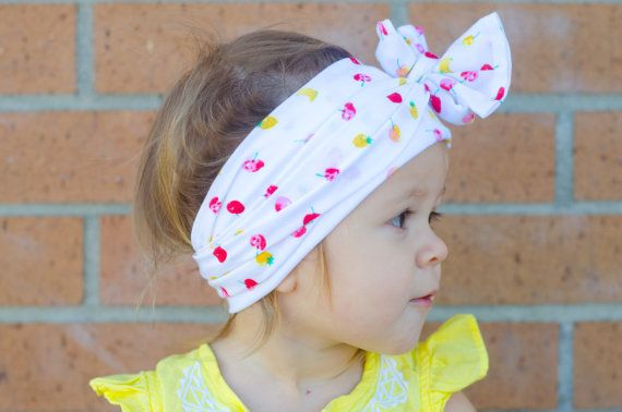 White Vintage Style Headwrap with Tiny Fruit - Bananas, Apples, Pineapples - Infant to Adult - Knot, Bow - Wear in Front, Back, Side! headband