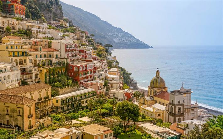 Lataa kuva Amalfi, Positano, vuoret, meri, kesällä, matka, Italia, Campania