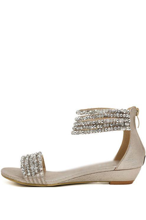 Silver Beaded Open Toe Low Wedge Sandals June 13 2015