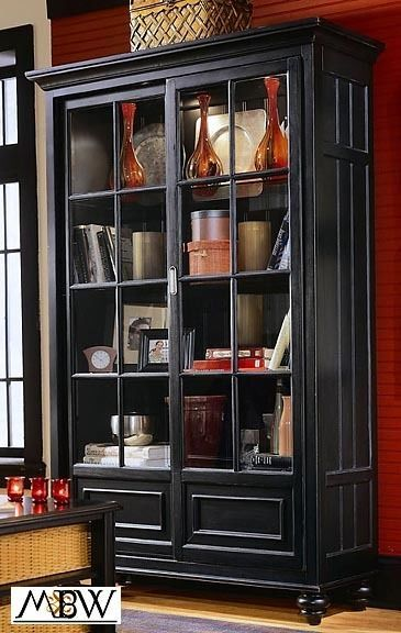 Distressed Black Lighted China Curio Cabinet Bookcase Americandrew Furniture Makeover Curio Cabinet Antique White Furniture