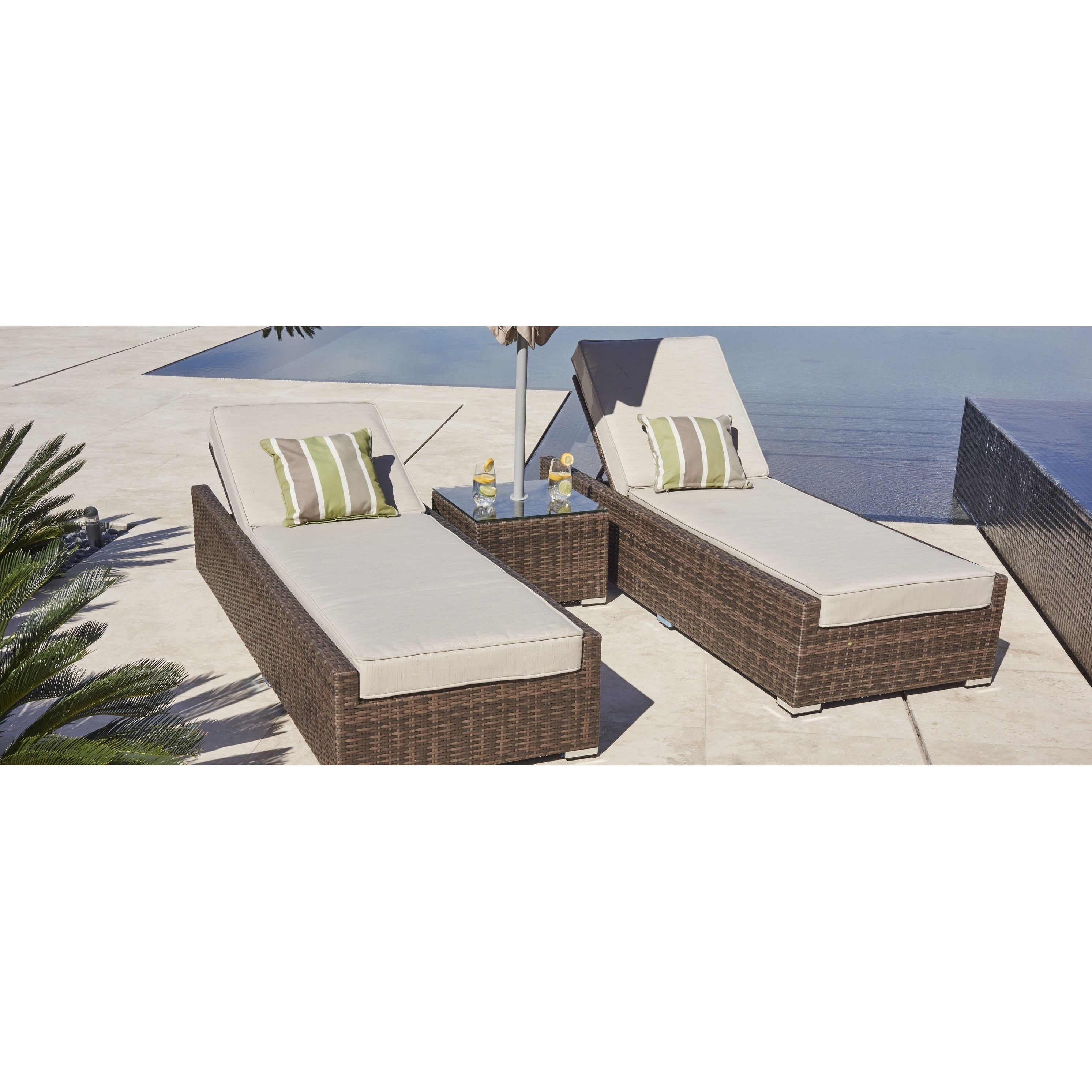 Vida Brown Wicker Outdoor Patio Chaise Lounge Chairs And Side Table