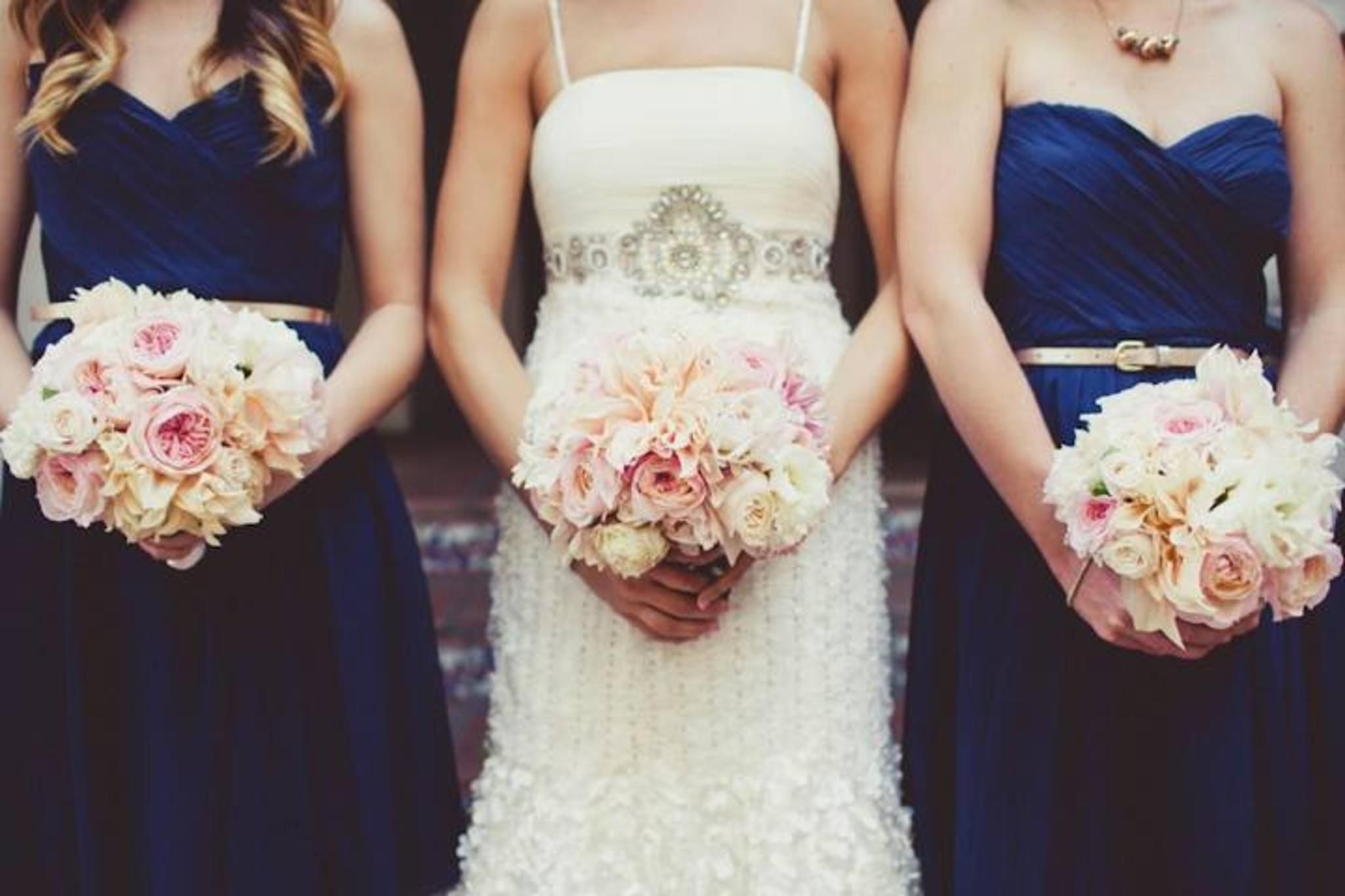Navy Blush Champagne Wedding Blushwhite Flowers Instead Of