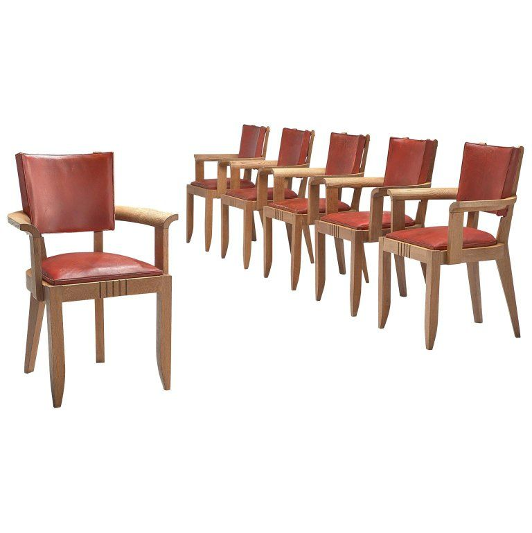 Red Leather Oak Dining Chairs