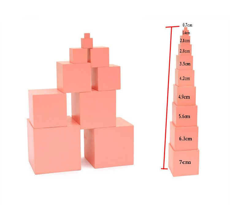 Pink Tower Family Set Max Size 7cm Building Blocks Wooden Toys Educational Cube Blocks Kids Toys for Baby Children Birthday Gift