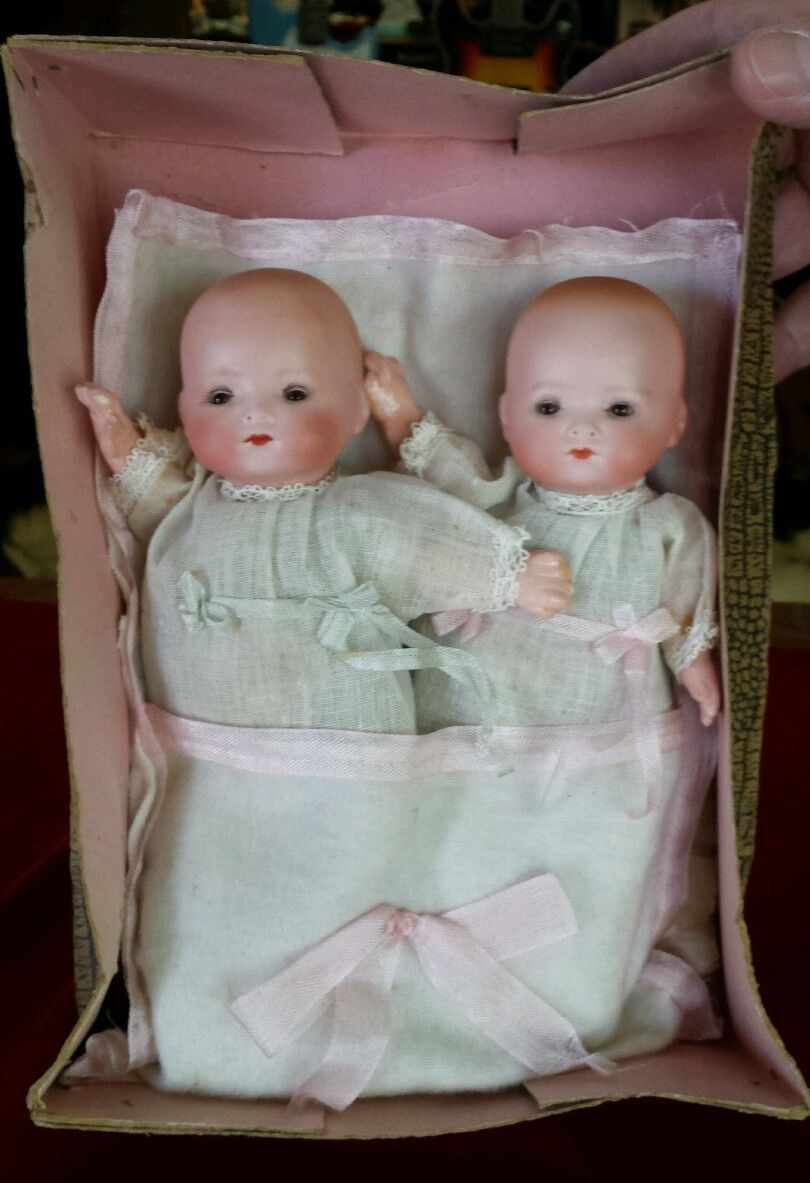 Rare 1920's Armand Marseille Bisque Twin Babies original box/packaging