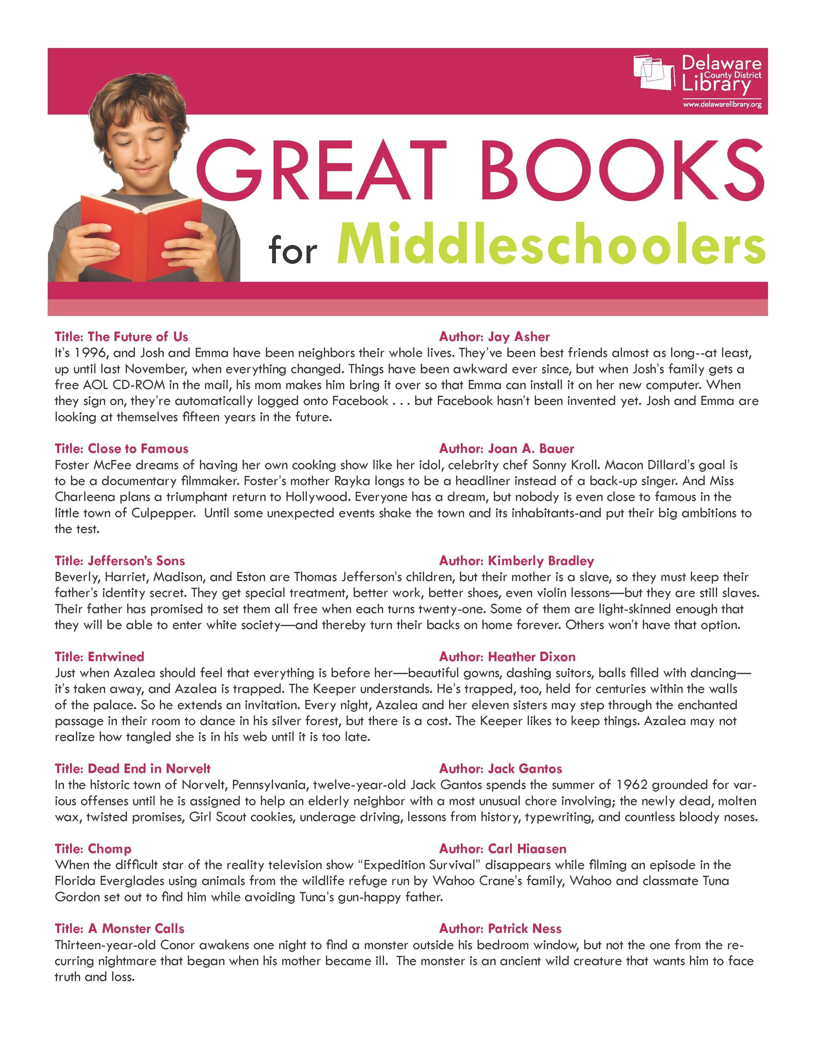 Great Books For Middleschoolers Lawarelibrary