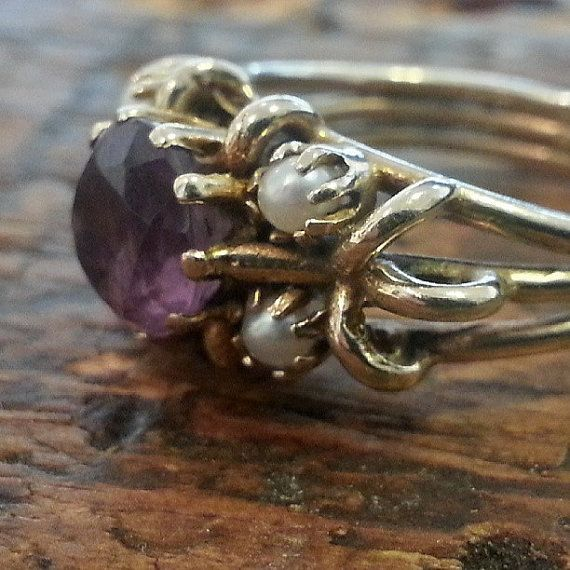 Stunning Vintage 9ct Gold Amethyst and by BettyFrenchSheffield, £150.00