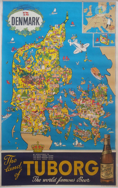 1960s Tuborg Beer Advertisement Map Of Denmark Original Vintage Poster Vintage Advertising Posters Beer Advertisement Denmark Map