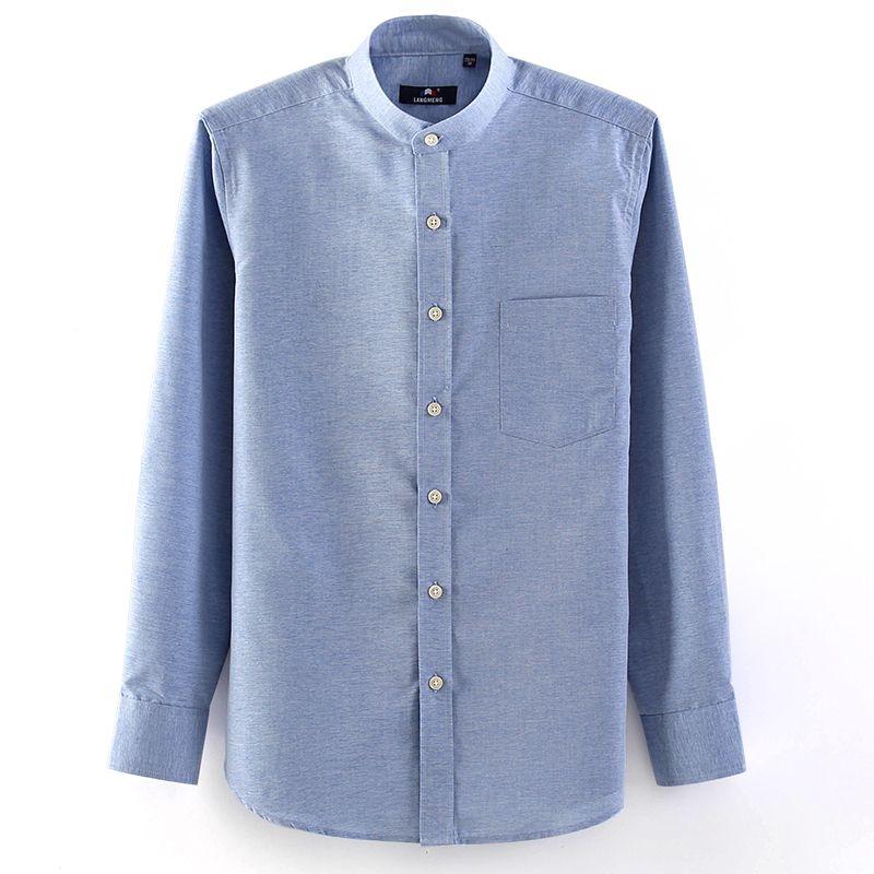 Hot 2014 New Autumn Long Sleeve Men Leisure Shirt Mandarin