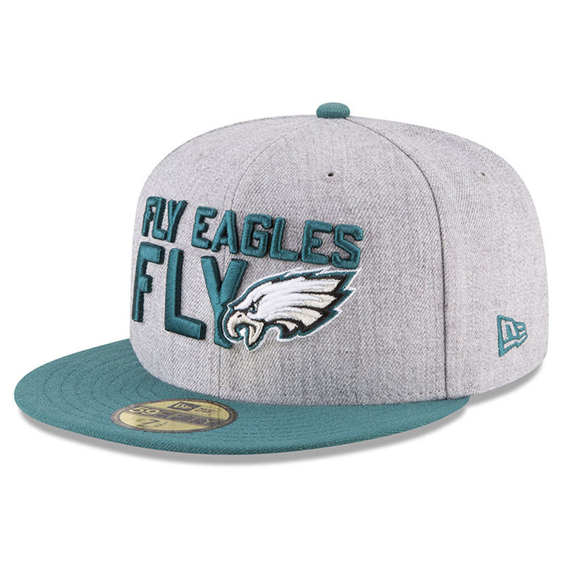 arrives 36e7e b06b4 Philadelphia Eagles New Era 2018 NFL Draft Official On-Stage 59FIFTY Fitted  Hat – Heather Gray Green