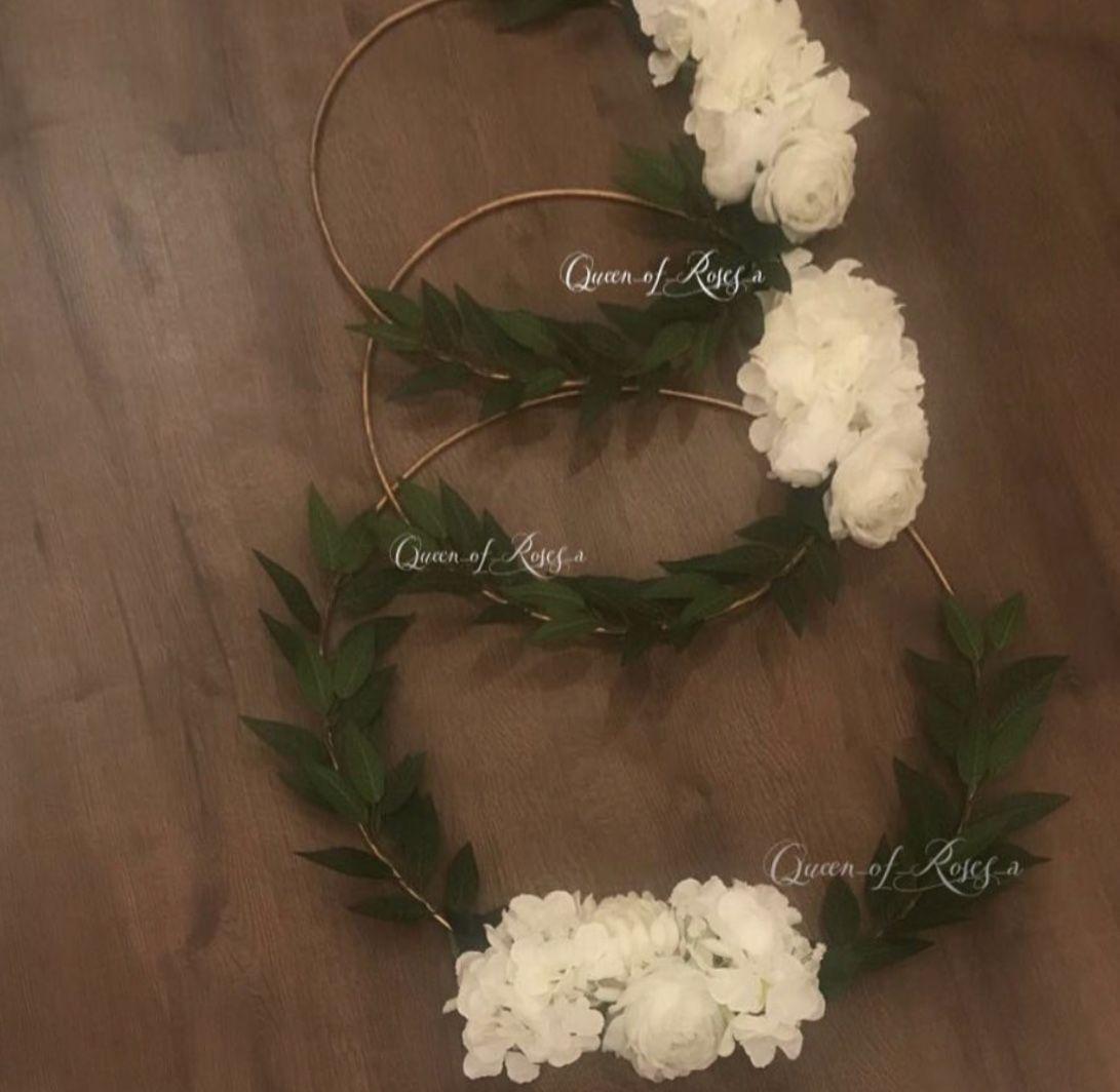 تعليقة ورد Hoop Wreath Wreaths Decor