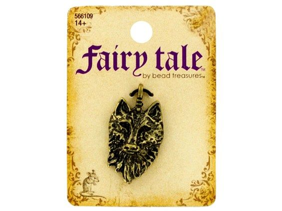Fairy Tale Wolf | ... Brand | Fairy Tale by Bead Treasures | Burnished Gold Wolf Head Charm