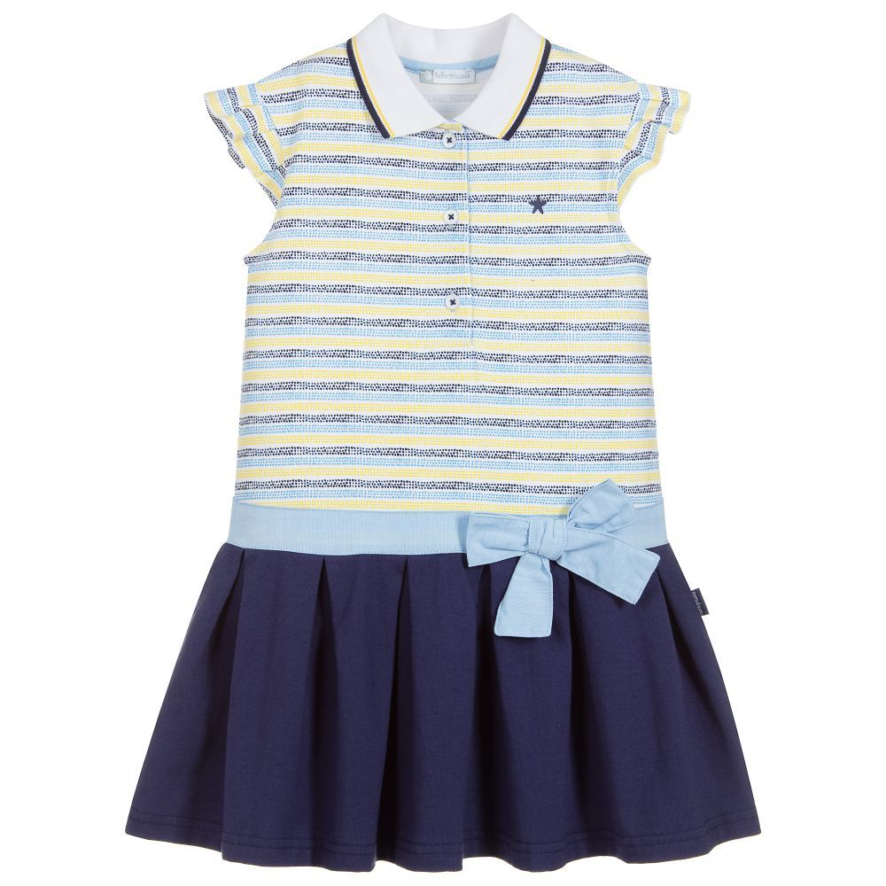 4d79e50ea6 Girls comfortable cotton jersey dress by Tutto Piccolo. It has attractive  dotted blue and yellow