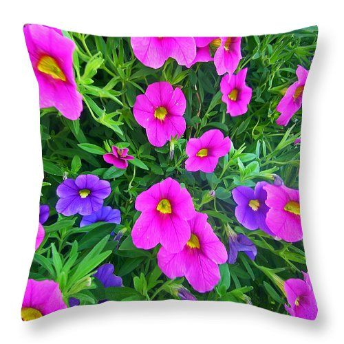 "Pink And Purple Petunias Throw Pillow for Sale by Aimee L Maher Photography and Art Visit ALMGallerydotcom. Our throw pillows are made from 100% spun polyester poplin fabric and add a stylish statement to any room. Pillows are available in sizes from 14""x14"" up to 26""x26"". Each pillow is printed on both sides (same image) and includes a concealed zipper and removable insert (if selected) for easy cleaning. Ships within 2-3 business days"