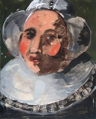 "Portrait of a ""dentellière"" inspired  by Franz Hals . North painting"