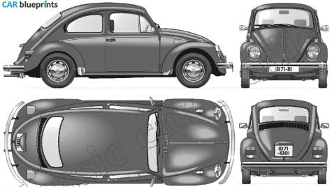 Volkswagen Beetle 1300 Blueprints Vector Drawings Clipart And Pdf Templates Volkswagen Beetle Volkswagen Volkswagen Multivan