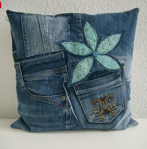 Aus alten ausrangierten Jeans ganz fix ein tolles Jeans Kissen nähen ...