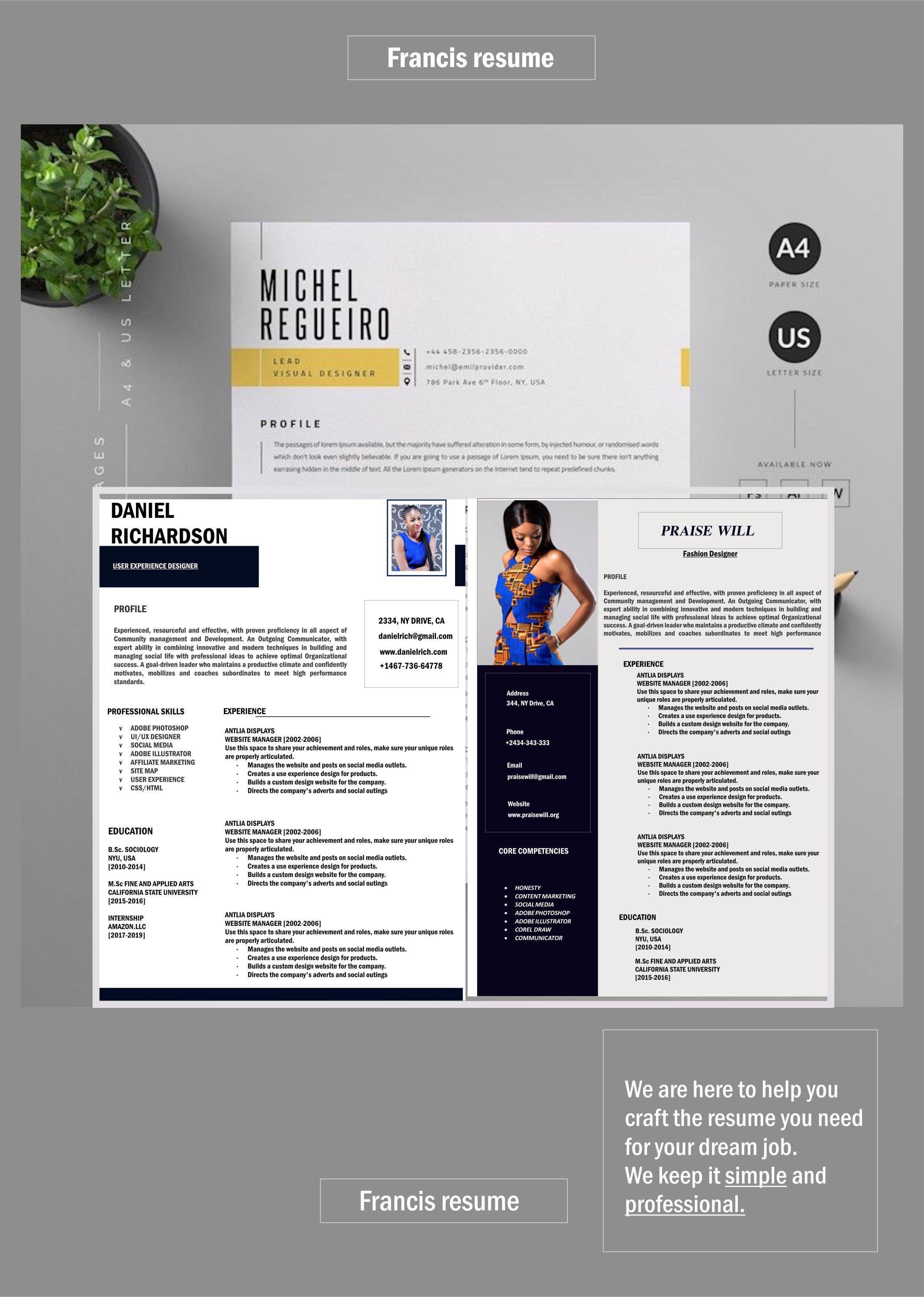 Professional Resume Cv Template Resume Template Word Resume Etsy Resume Template Cv Template Resume
