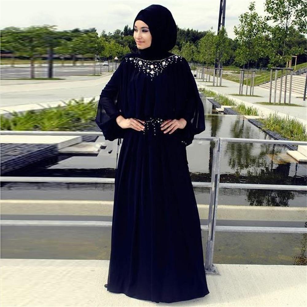 pas cher longue robe de soir e 2016 turque islamique hijab manches longues perles musulmane. Black Bedroom Furniture Sets. Home Design Ideas