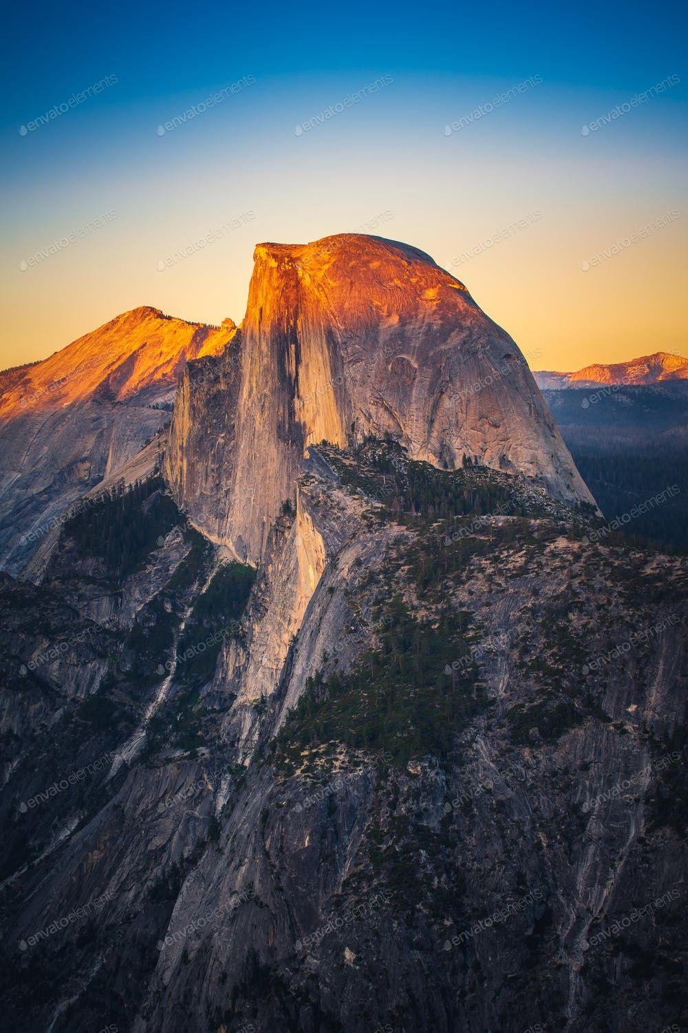 Sunset View Of Half Dome From Glacier Point In Yosemite Nationa Photo By Heyengel On Envato Elements Sunset Views Yosemite Travel Tree [ 1500 x 1000 Pixel ]
