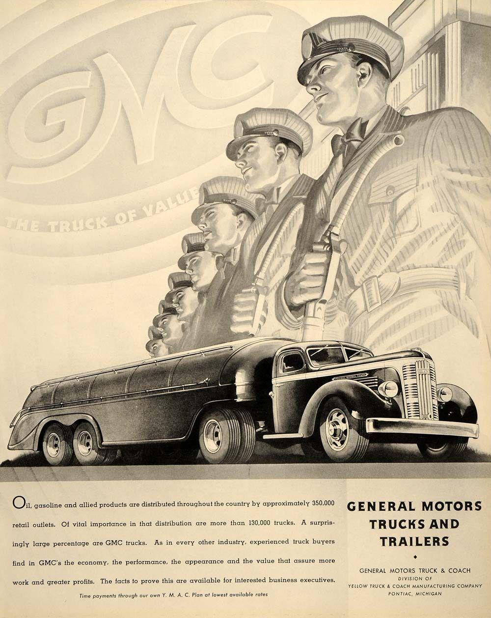 1937 Ad General Motors Trucks Trailers Pontiac Oil Gas Original Ftt9 Motor Truck Trucks Fuel Truck