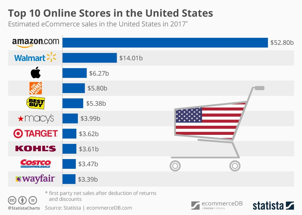 Top 10 Online Stores in the United States Infographic