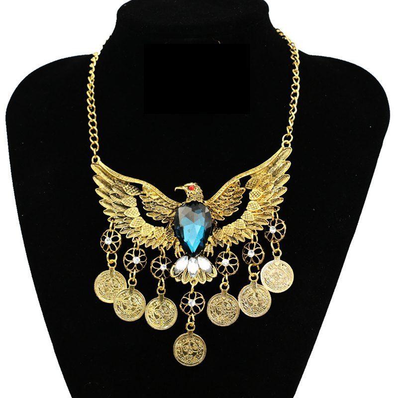 Águila Colgante de Collar de Metal de la vendimia 2016 de Las Mujeres Hueco Exagerado Borla Moneda Maxi Collar Bijoux Collier Femme Joyas Animal