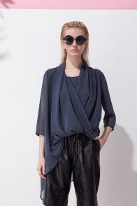 Irregular draped chiffon shirt (grey) | Front Row Shop