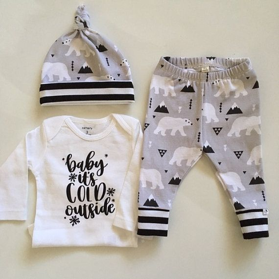 136b8f6ae690 NEW FOR WINTER! Newborn Outfit-Polar Bears Stripes
