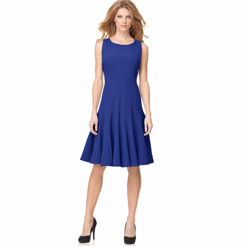 Calvin Klein Blue Sleeveless Pleated A Line Dress