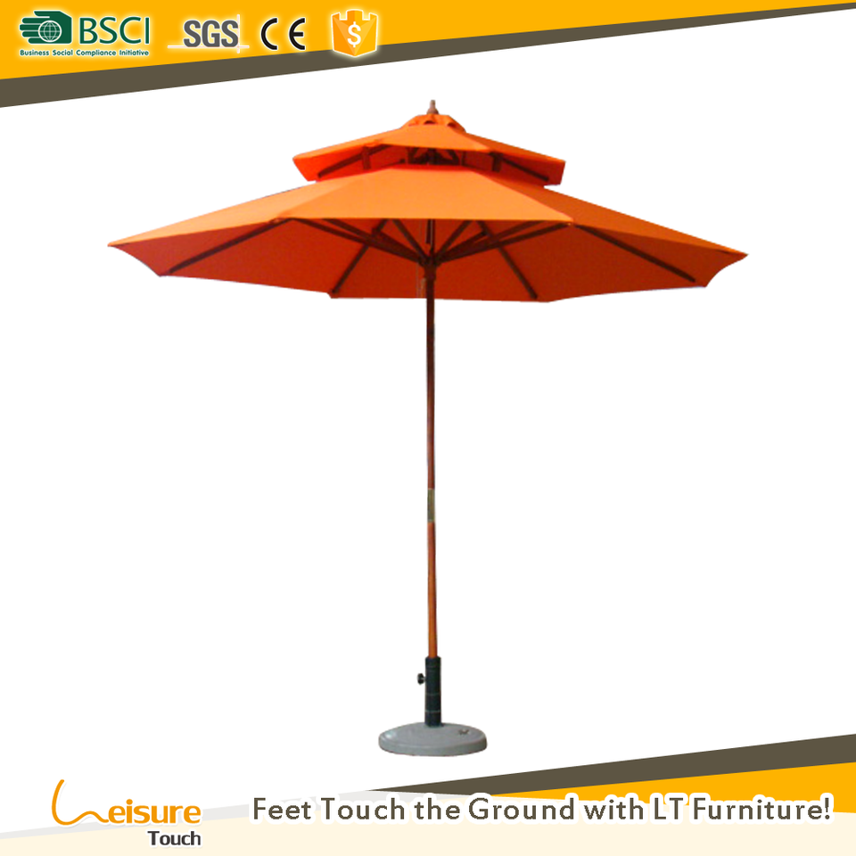 Cheap price round garden parasol with marble basic China wooden