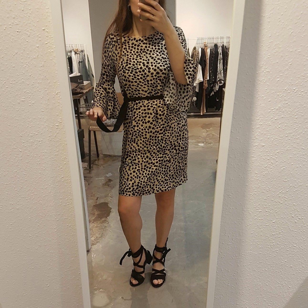 Yaya Leopard Printed Woven Dress Via Vai Kirsten Elle Sandalen