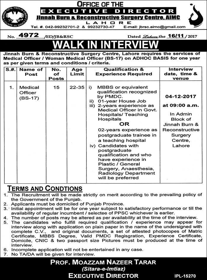 Jinnah Burn And Reconstructive Surgery Jobs  In Lahore For