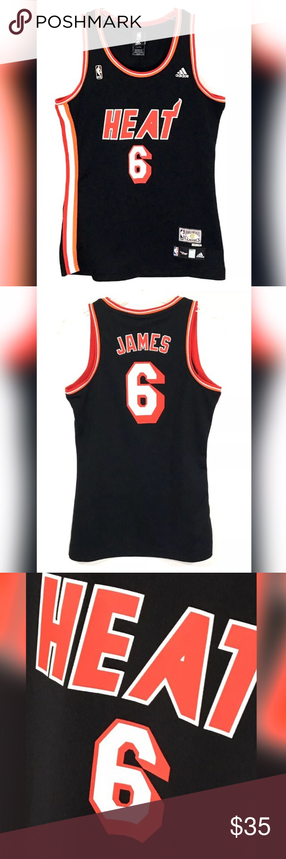 Lebron James Miami Heat Throwback Jersey Hardwood Lebron James Miami Heat  Throwback Jersey Hardwood Classics NBA 4 Her Women s S Pit to pit  16