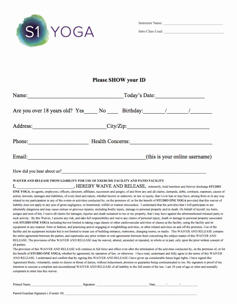 25 Yoga Waiver form Template in 2020 Rental agreement