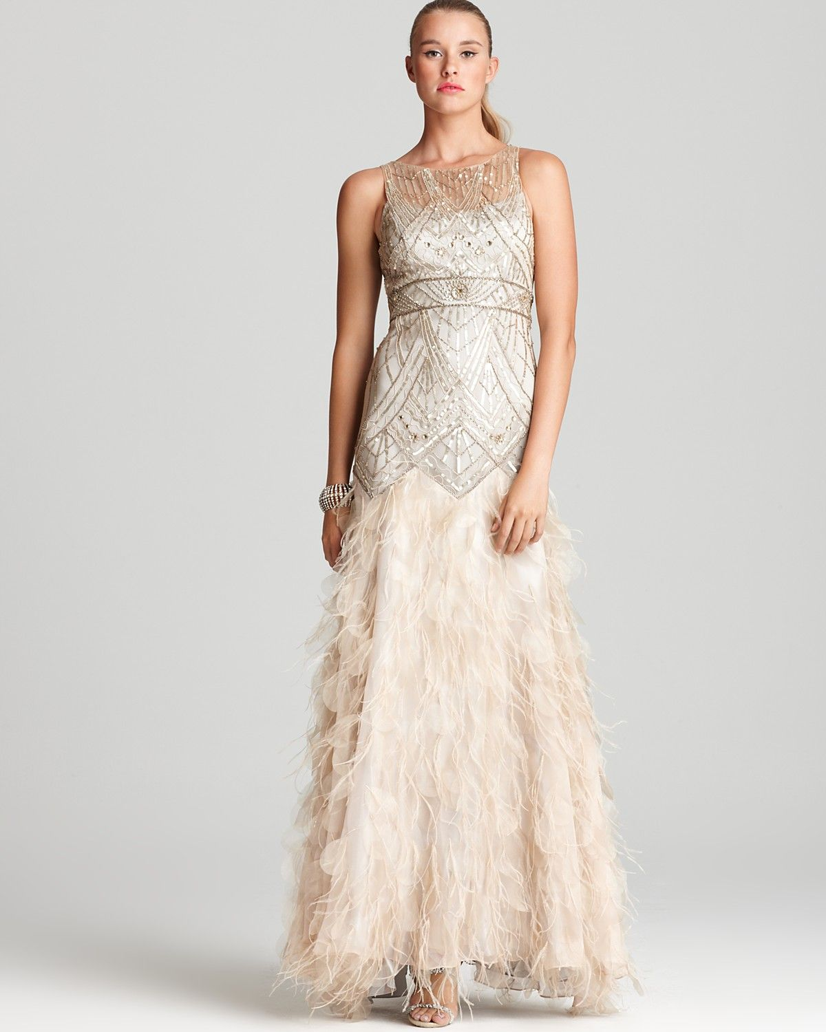 bloomingdales wedding dresses Sue Wong Beaded Gown Illusion Neck Fringe Bottom Bloomingdale s score