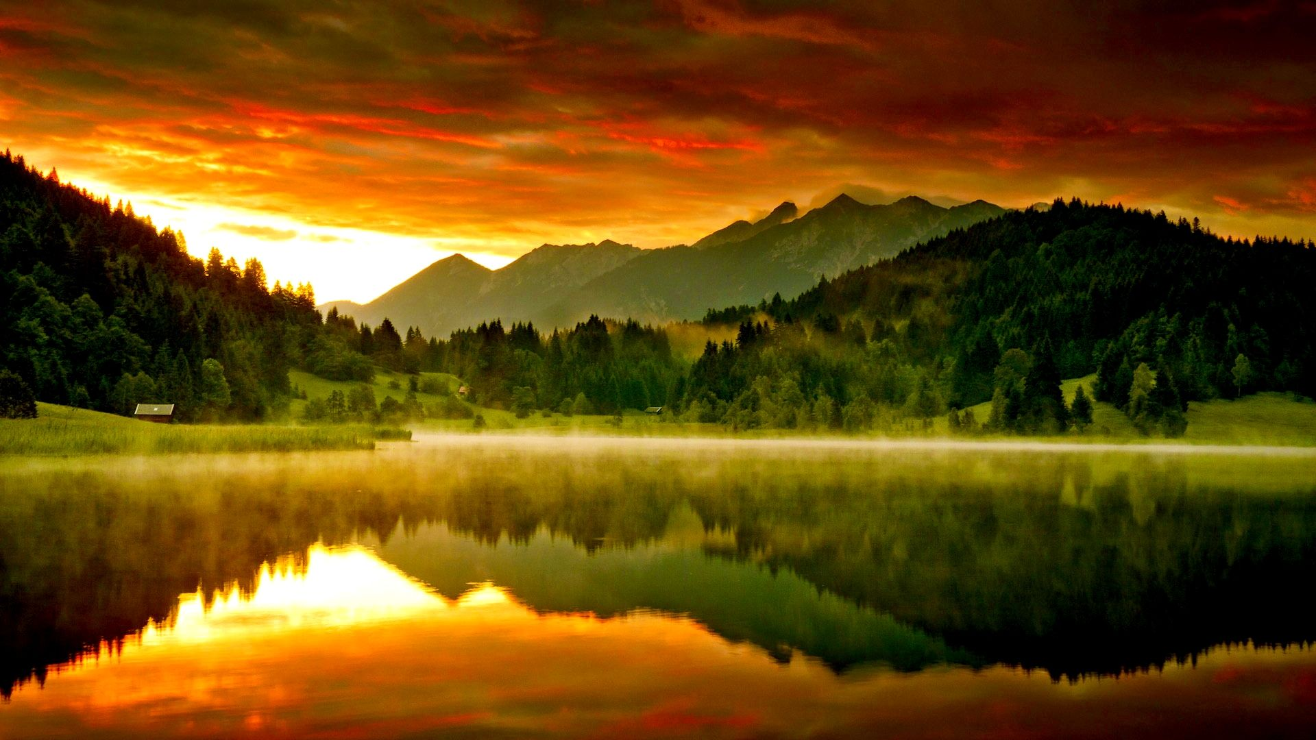 Misty Lake At Sunset Wallpapers Hd Free 244766 Reflection