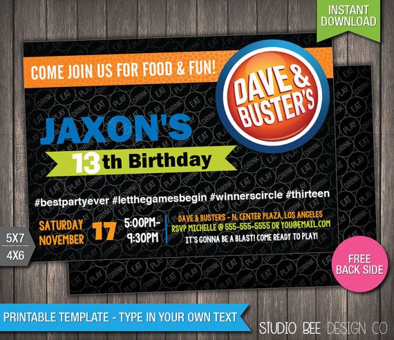 Dave Busters Birthday Invitation Instant Download Printable Dave And Busters Birthday Invite Dave Busters Birthday Invitations Diy Birthday Invitations
