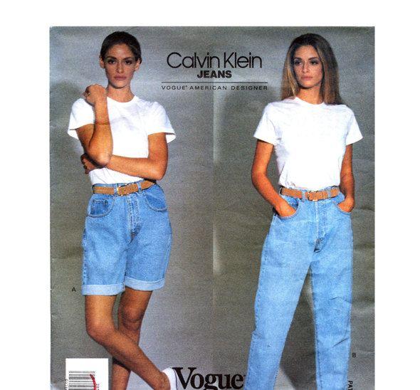 92dec128323 90s DENIM JEANS PATTERN Calvin Klein Mom Jeans   Shorts Pattern Vogue 2851  American Designer UNCuT Vintage Womens Sewing Patterns by  DesignRewindFashions on ...