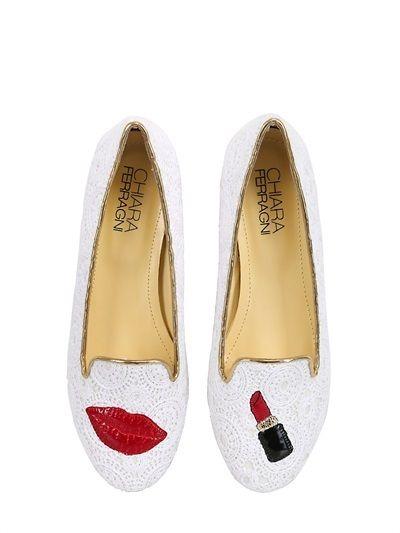 455a3b76e0a Chiara Ferragni 10mm Lipstick Lace Loafers on shopstyle.com